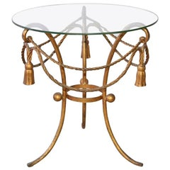 Gilt-Metal Rope and Tassel Table with Glass Top