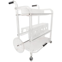 Mid-Century Lucite and Chrome Bar Serving Cart