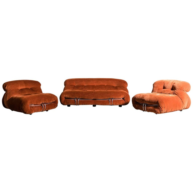Soriana Sofa and Armchairs by Tobia Scarpa for Cassina