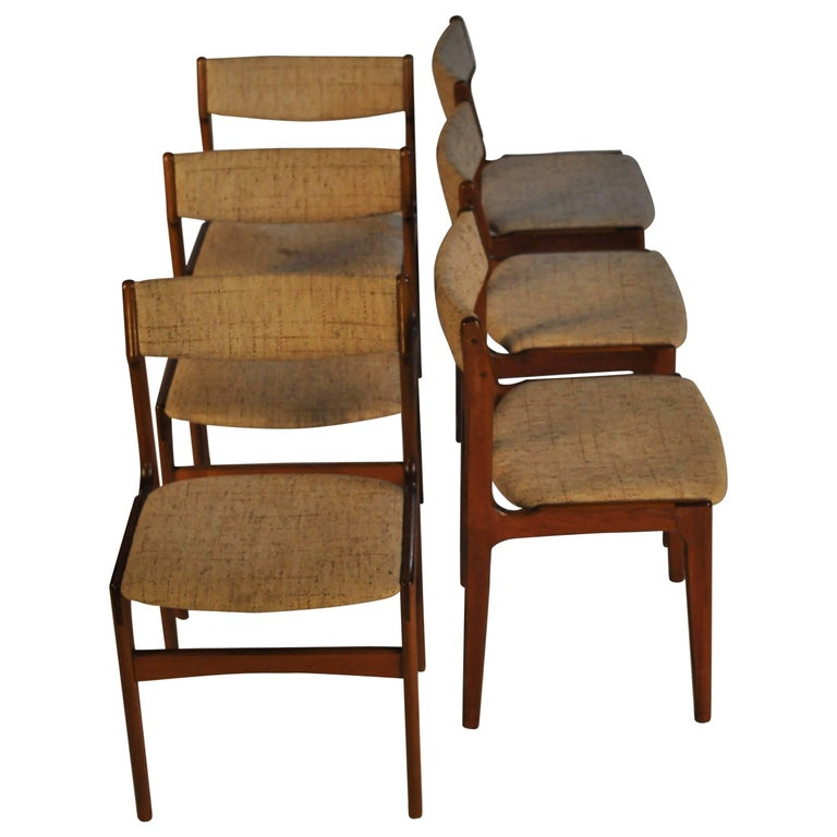 1960s Erik Buch Set of Six Dining Chairs in Teak and Fabric For Sale