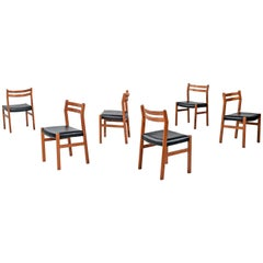 '6' Solid Teak Danish Curved Back Dining Chairs, New Black Vinyl Upholstery