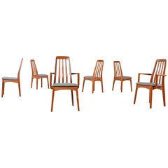 Benny Linden Solid Teak Dining Chairs Set of Six, circa 1980s