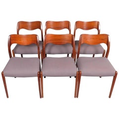 1960s Danish Set of Six Rosewood Dining Chairs, Niels Otto Moller Model 71