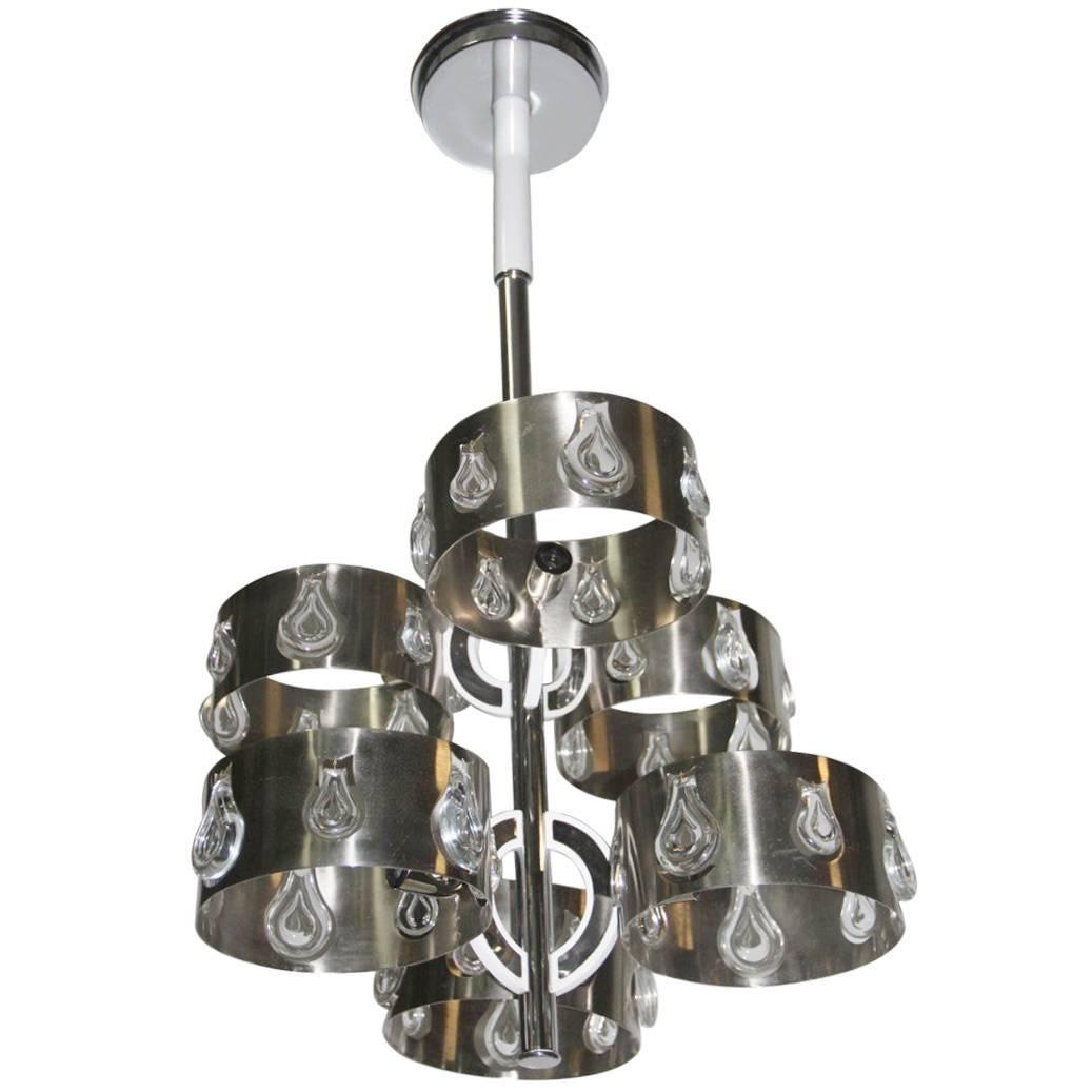 Steel Crystal Chandeliers, 1970s Italian Design