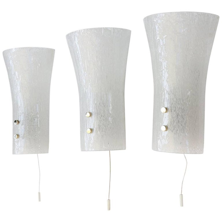 Set of Three Murano Glass Wall Sconces by Doria, Germany, 1960s
