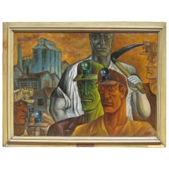 "Joseph Lomoff Social Realist Painting, 1929 ""Toilers of the Underground"""