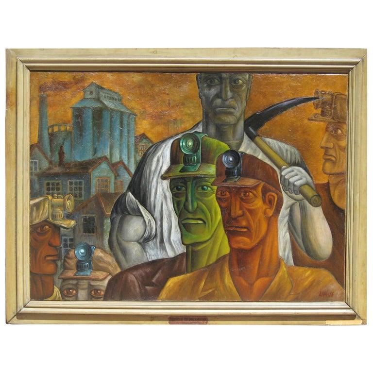 "Joseph Lomoff Social Realist Painting, 1929 ""Toilers of the Underground"""