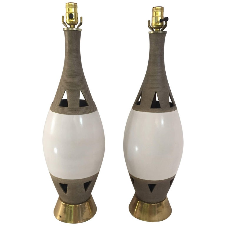 Pair of 1960s Italian Pottery Lamps