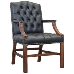 Centurion Chesterfield Leather Armchair Green Wood Armrest