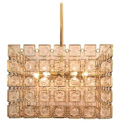 Italian 1970s Sciolari Gold and Crystal Disk Geometric Cube Chandelier