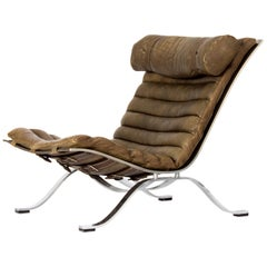 Ari Lounge Chair by Arne Norell in Patinated Brown / Olive Leather Sweden, 1960s