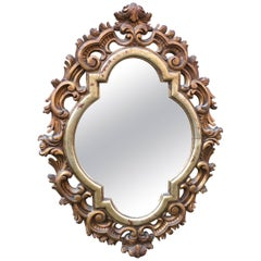 Italian Scroll Carved and Gilded Baroque Style Mirror
