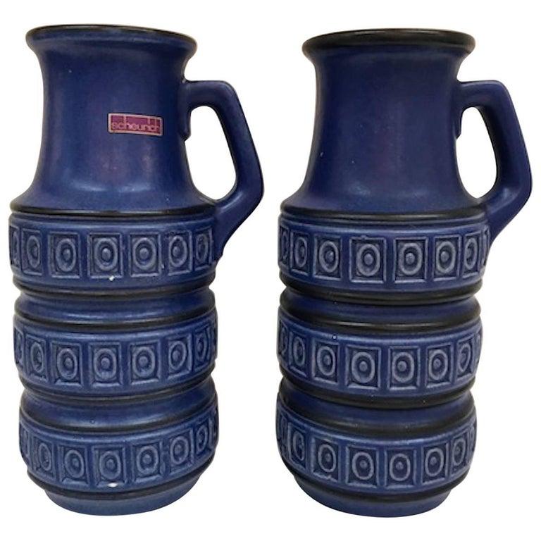 Pair Of Scheurich Keramic 1950s Indigo Blue Jug Vases For Sale At