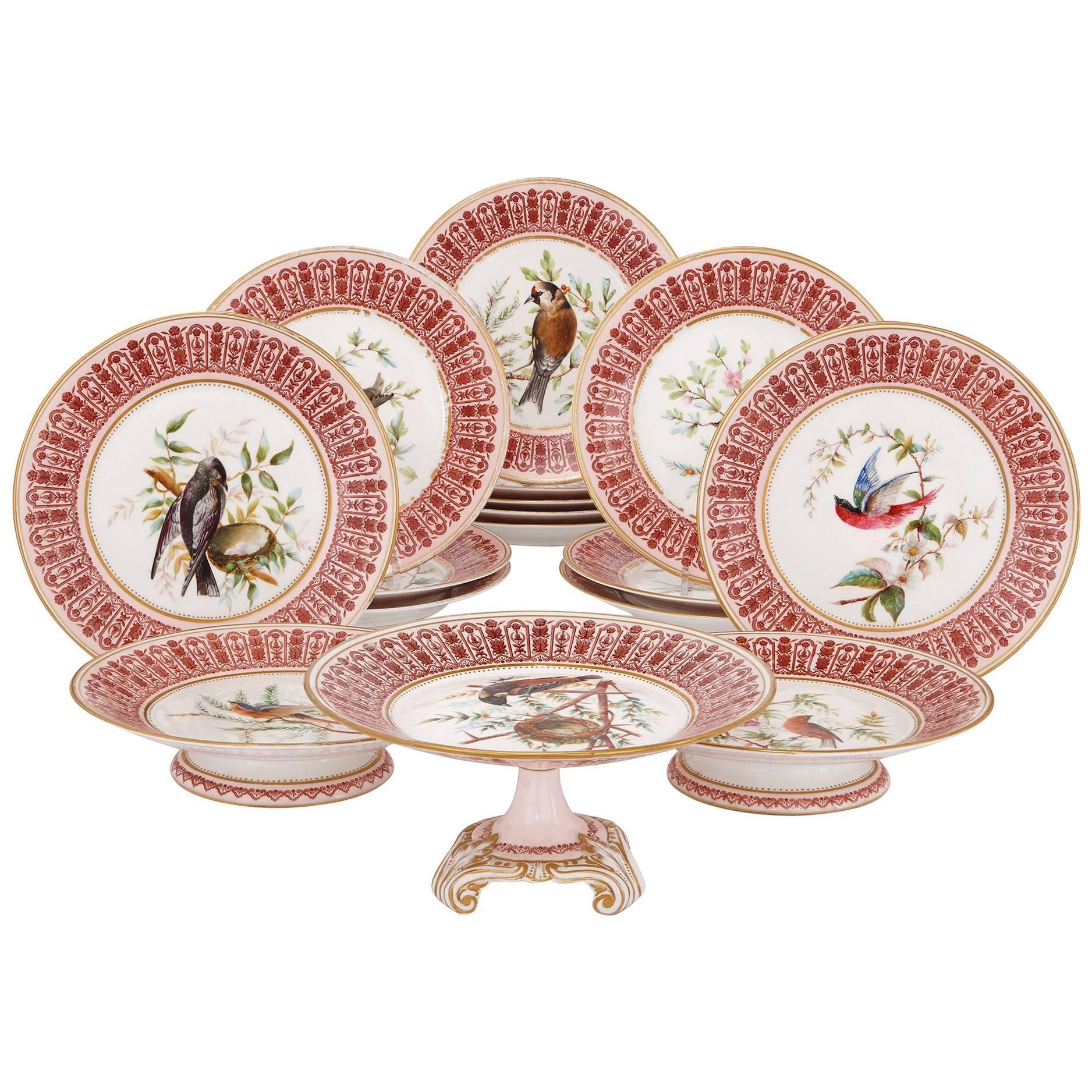 Antique English Sixteen-Piece Dessert Service by Royal Crown Derby Porcelain