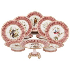 Antique English Sixteen-Piece Dessert Service by Royal Crown Derby Porcelain