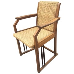 Art Nouveau Armchair in Oak and Rope, circa 1900