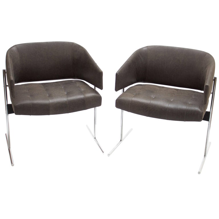 Pair of Grey Senior Armchairs by Jorge Zalszupin in Soft Leather, Brazil, 1960