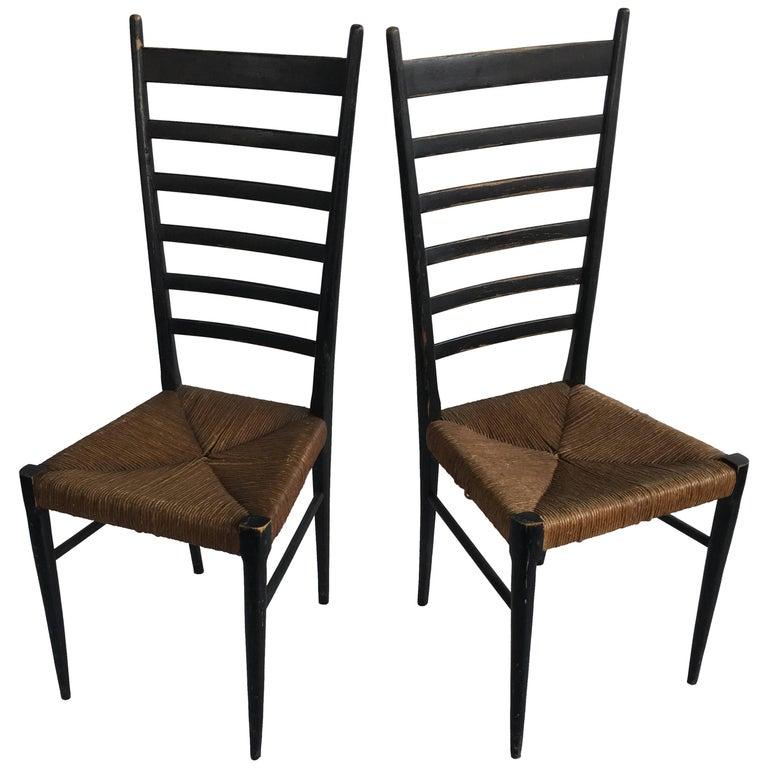Pair of Tallback 1950s Italian Rush Seat Occasional Chairs
