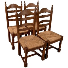 Quality Set of Four French Solid Oak Country Kitchen Dining Chairs Rush Seats
