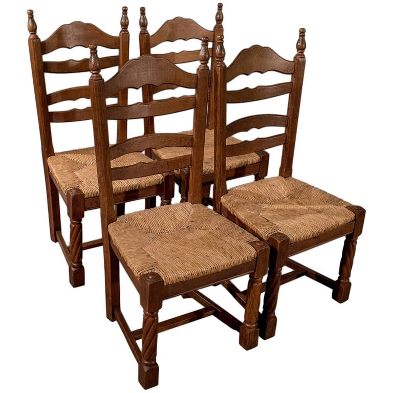 French Country Kitchen Chairs: Quality Set Of Four French Solid Oak Country Kitchen