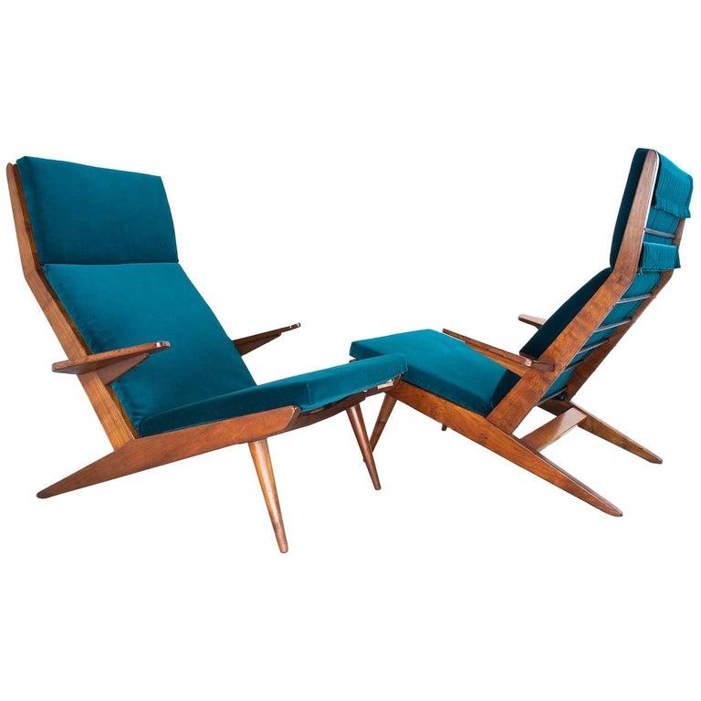 Unique and Lounge Chair Set Rob Parry 1960s Dutch Design Teak and Teal