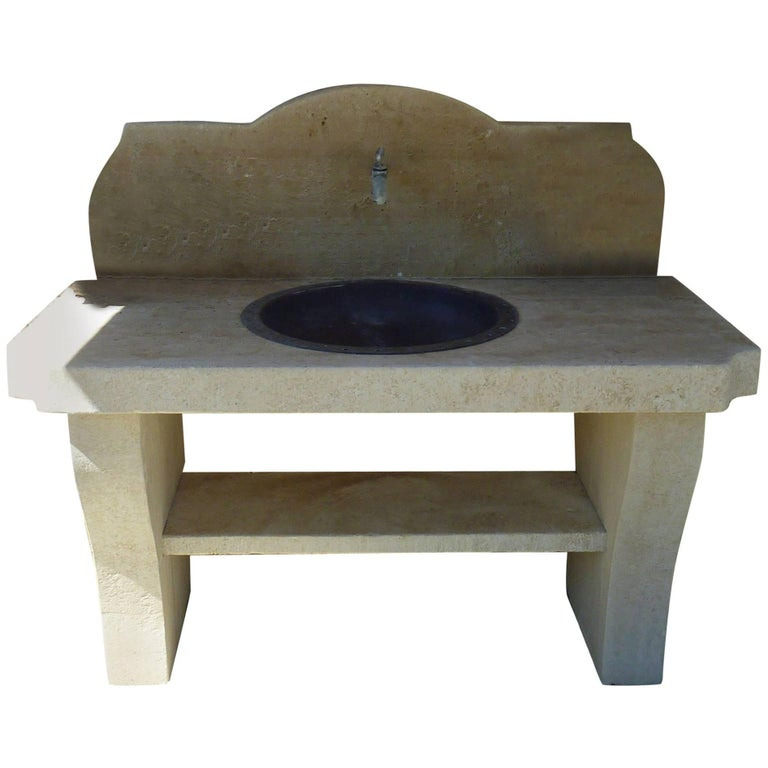 Stone Summer Kitchen with Large Antique Copper Sink, Legs and Pediment in Stone