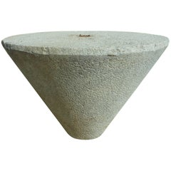 Massive High Round Table in Aged and Patined Granite Stone