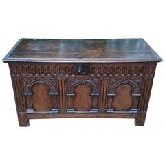 Especially Fine 17th Century Antique Oak Coffer