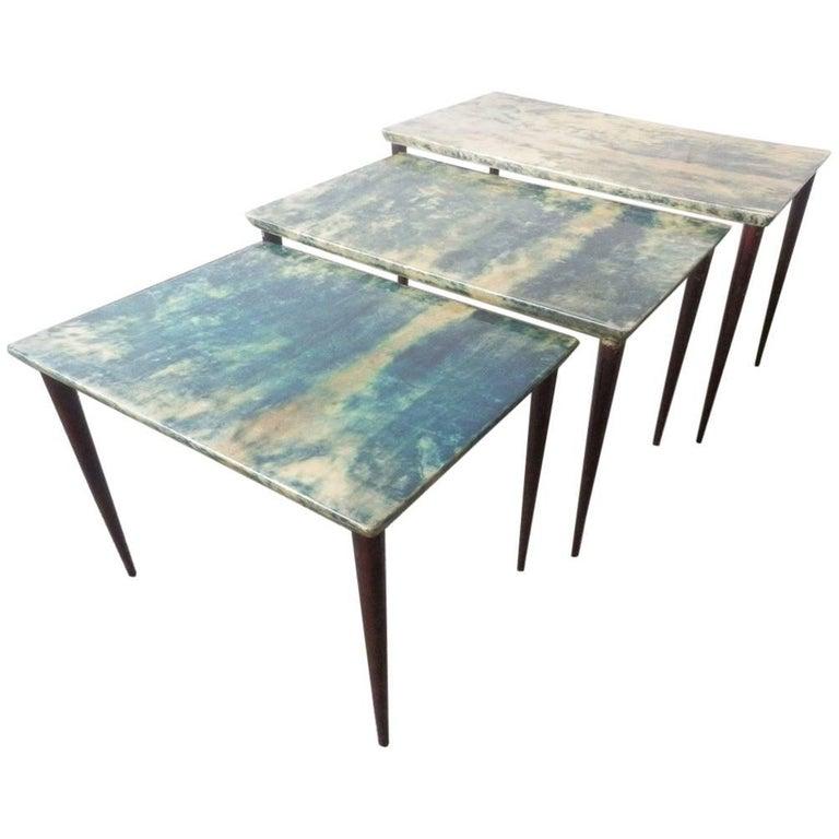 Aldo Tura Nesting Tables in Extraordinary Color!