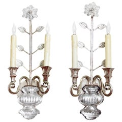 Pair of Mason Baguès Style Crystal Wall Sconces
