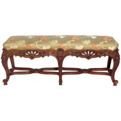 French Louis XV Style Heavily Carved Bench