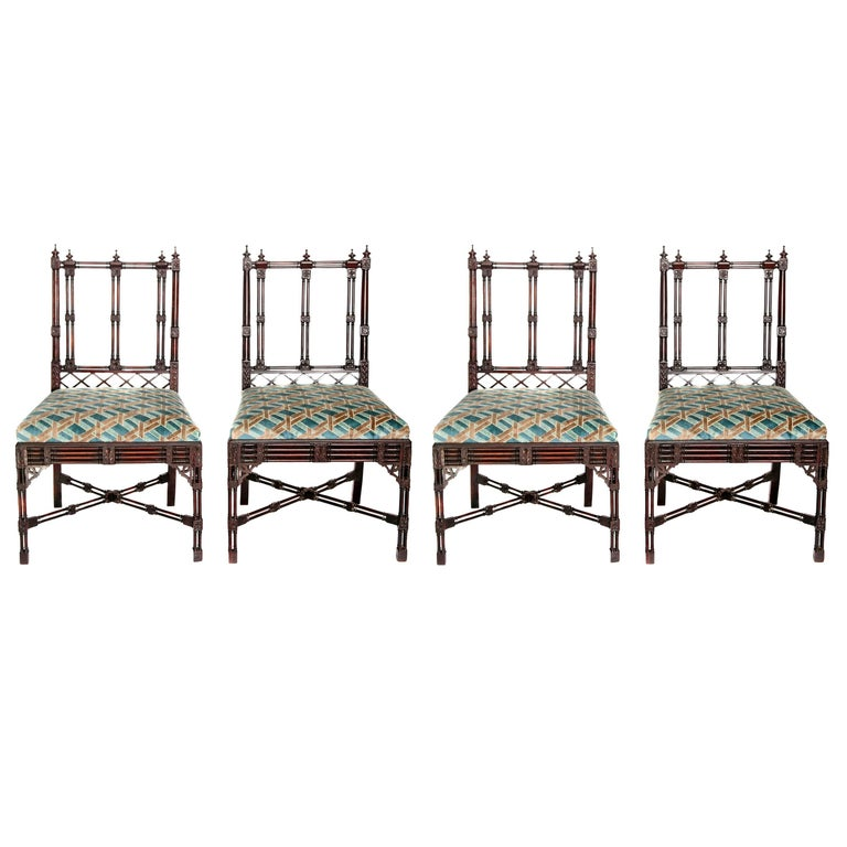 Group of georgian revival chinese chippendale style chairs for Chinese style furniture for sale