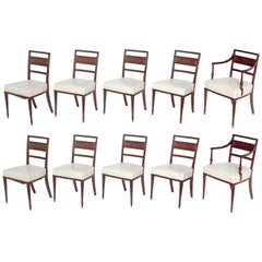 English Regency Dining Chairs, Set of Ten