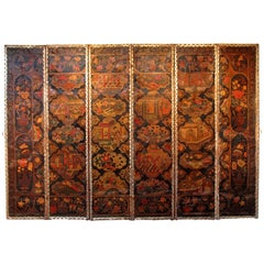 Large Chinoiserie Six-Panel Painted Leather Screen