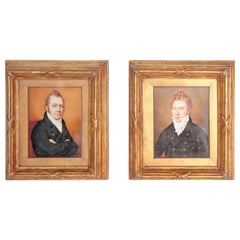Pair of Period Portrait Miniatures / English Regency Gentlemen