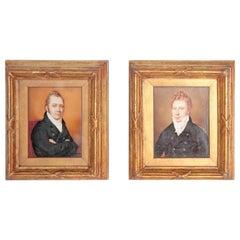 Pair of Period Portrait Miniatures / English Regency Gentlemen