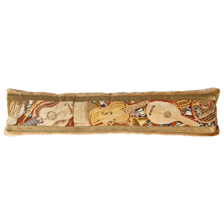 Long Tapestry Pillow with Musical Instruments 1