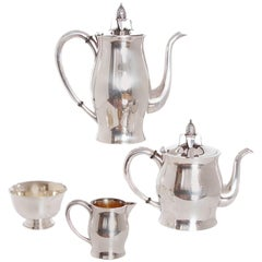 Four-Piece Japanese Sterling Coffee and Tea Set by Miyamoto-Shoka