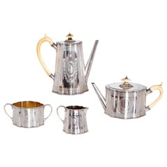 19th Century English Sterling Silver 4-Piece Coffee and Tea Service