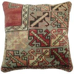 Large Square Red Vintage Turkish Rug Pillow