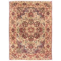 Late 19th Century Antique Lavar-Kerman Rug with Red and Pink Floral Medallion