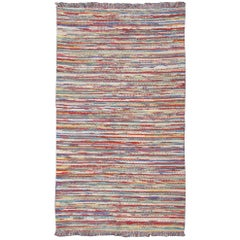 1970s Colorful Braided Rug American with Horizontal Stripes and Fringe Detail