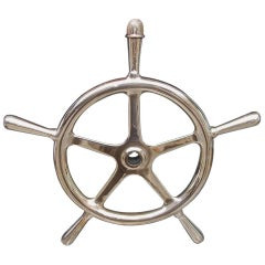 American Solid Brass Five Spoke Ringed Yacht Wheel, Circa 1870