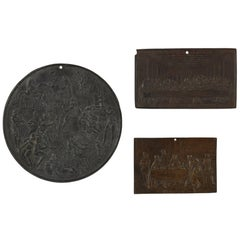 Three German Antique Iron Plaques Cast in the Renaissance Style