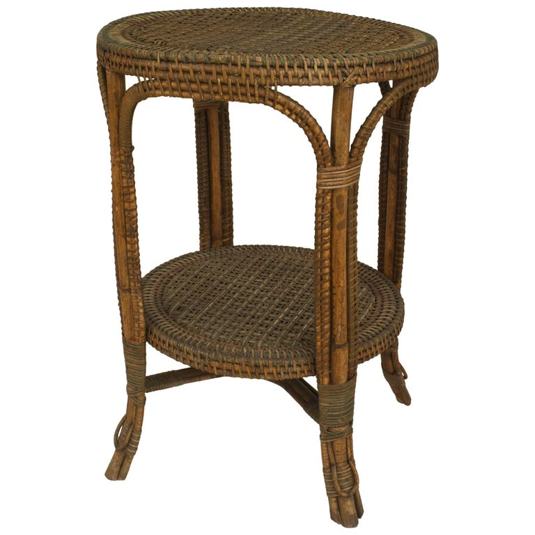 French Victorian Natural Wicker Round Center Table by Perret et Vibert