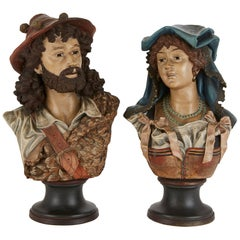Pair of Antique Tyrolean Terracotta Busts of a Bavarian Man and Woman