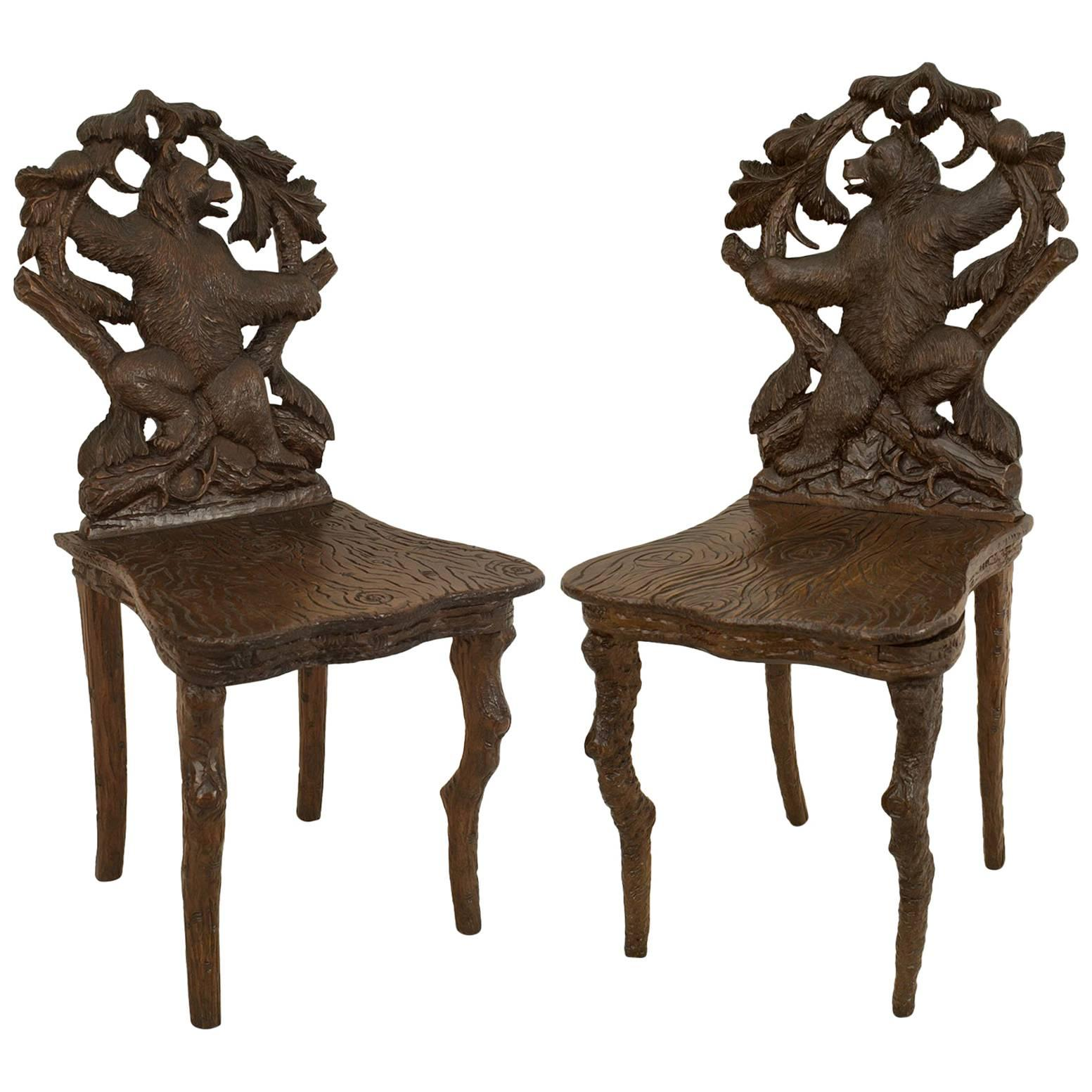 Pair of Rustic Black Forest Walnut Bear Side Chairs