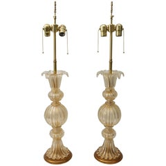 Pair of Barovier Et Toso Murano Glass Lamps in Clear Gold Coloration