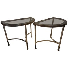 Mid-Century Demilune Side Tables, Pair