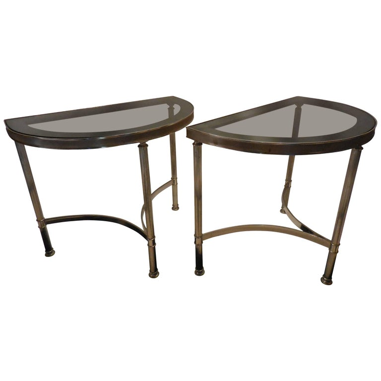 Mid-Century Demilune Side Tables, Pair 1
